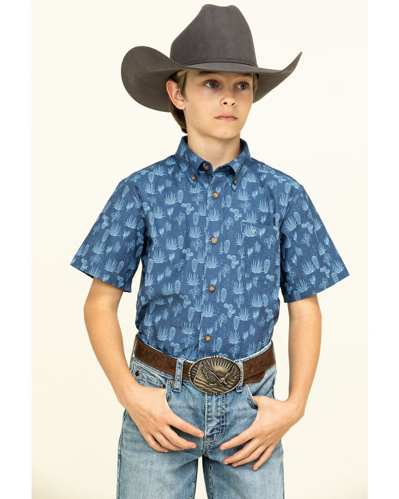 Ariat Boys' Tavares Cactus Print Short Sleeve Western Shirt , Navy, hi-res
