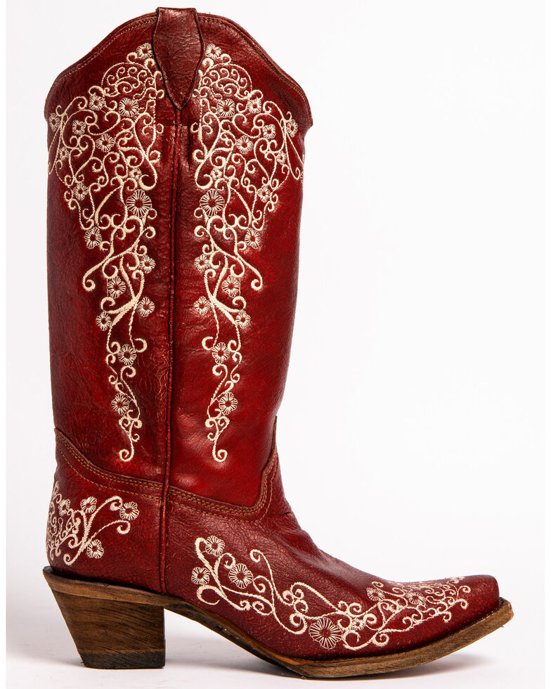 Corral Women's Embroidered Snip Toe Western Boots, Red, hi-res