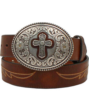Ariat Women's Western Cross Leather Belt, Brown, hi-res