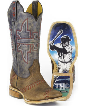 Tin Haul Men's Slugger Cowboy Boots - Square Toe, Tan, hi-res