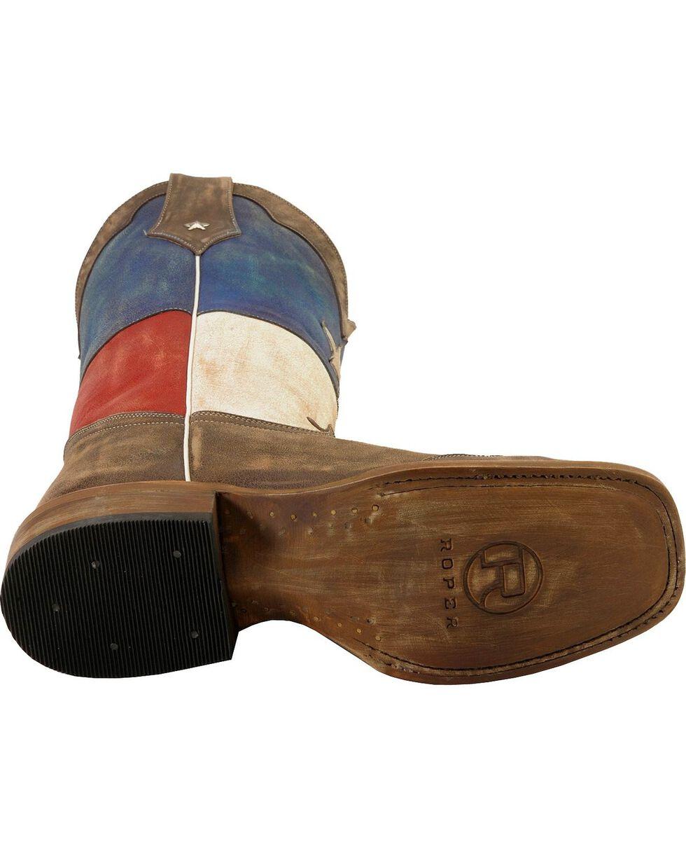 Roper Men's Americana Texas Flag Square Toe Western Boots, Brown, hi-res