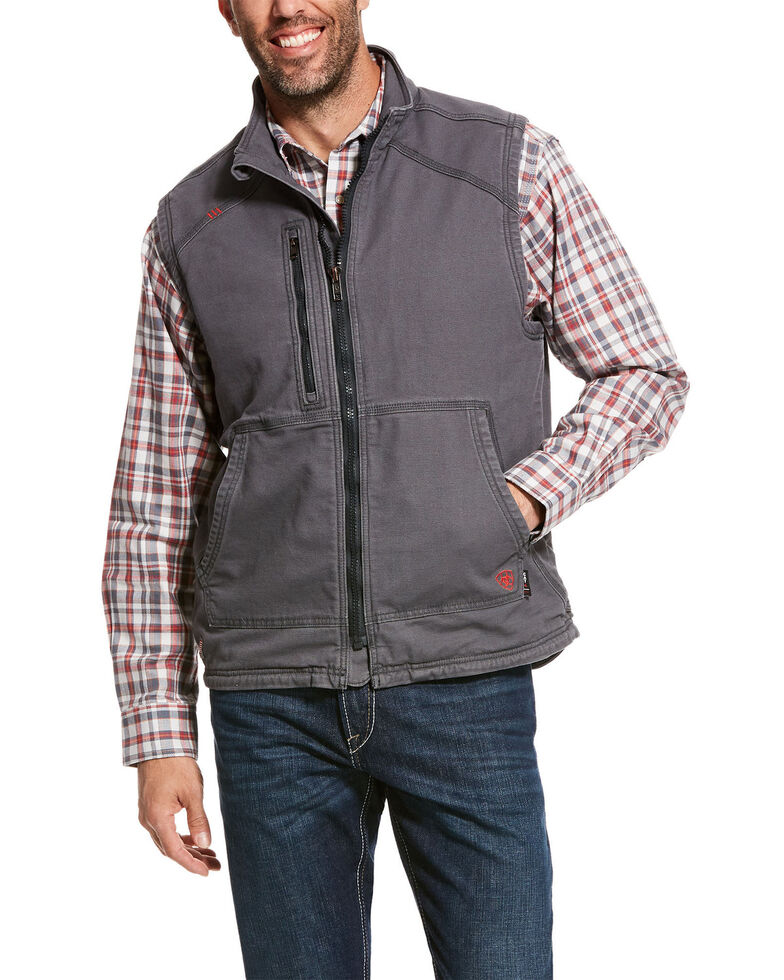 Ariat Men's FR Duralight Stretch Canvas Work Vest - Tall, Grey, hi-res