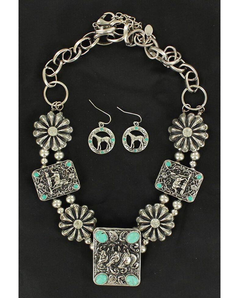 Blazin Roxx Rectangle Concho & Faux Turquoise Necklace & Earrings Set, Silver, hi-res