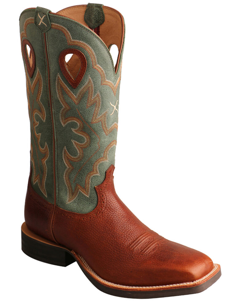 Twisted X Men's Cognac Ruff Stock Western Boots - Wide Square Toe, Cognac, hi-res