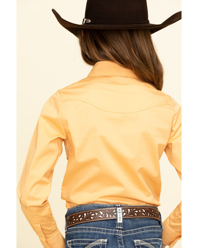 Shyanne Girls' Orange Rhinestone Long Sleeve Western Shirt , Orange, hi-res