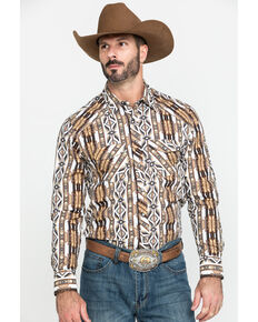 Rock & Roll Cowboy Men's Aztec Striped Long Sleeve Western Shirt , Tan, hi-res