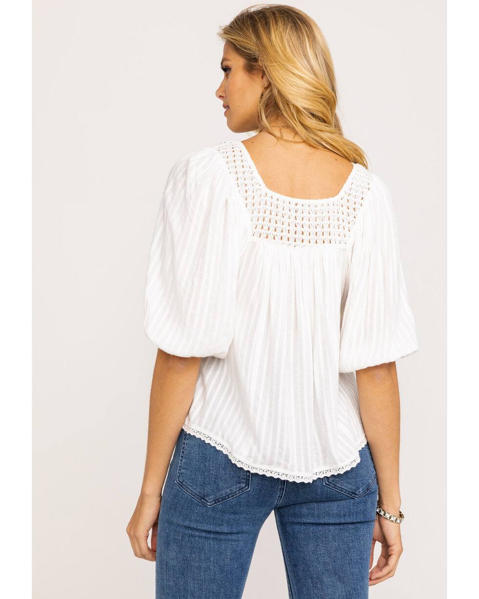 Miss Me Women's White Crochet Flowy Peasant Top, White, hi-res