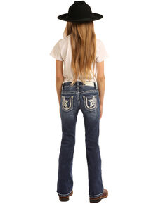 Rock & Roll Cowgirl Girls' Star & Horseshoe Medium Bootcut Jeans, Blue, hi-res
