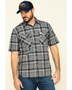Carhartt Men's Black Rugged Flex Bozeman Plaid Short Sleeve Work Shirt , Black, hi-res