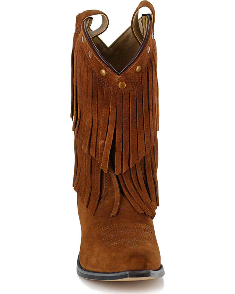 Shyanne® Girls' Fringe Snip Toe Western Boots, Brown, hi-res