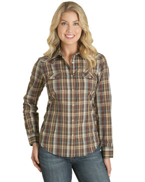 Wrangler Women's Brown Plaid Western Shirt , Natural, hi-res
