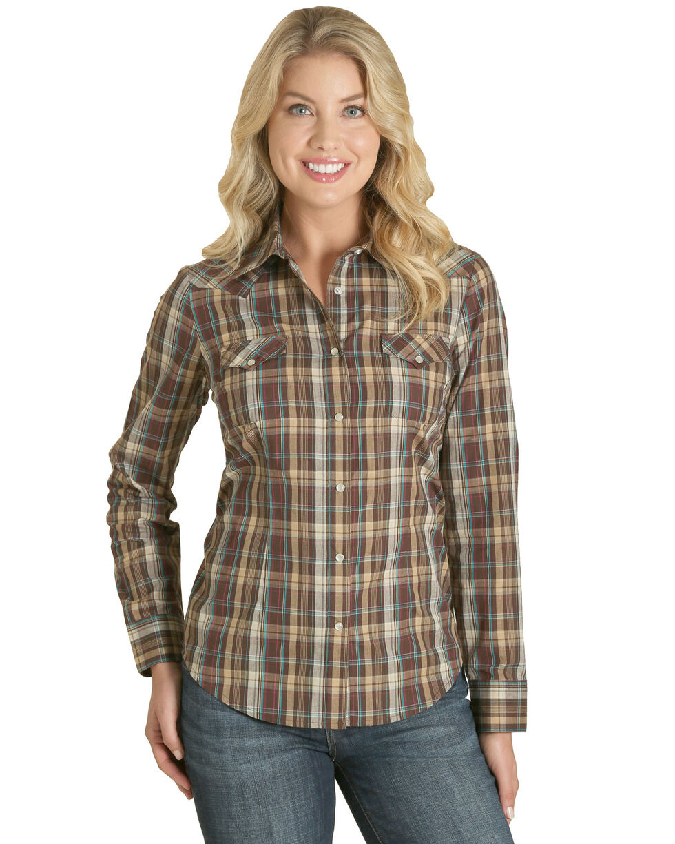 Wrangler Women's Brown Plaid Western Shirt , , hi-res
