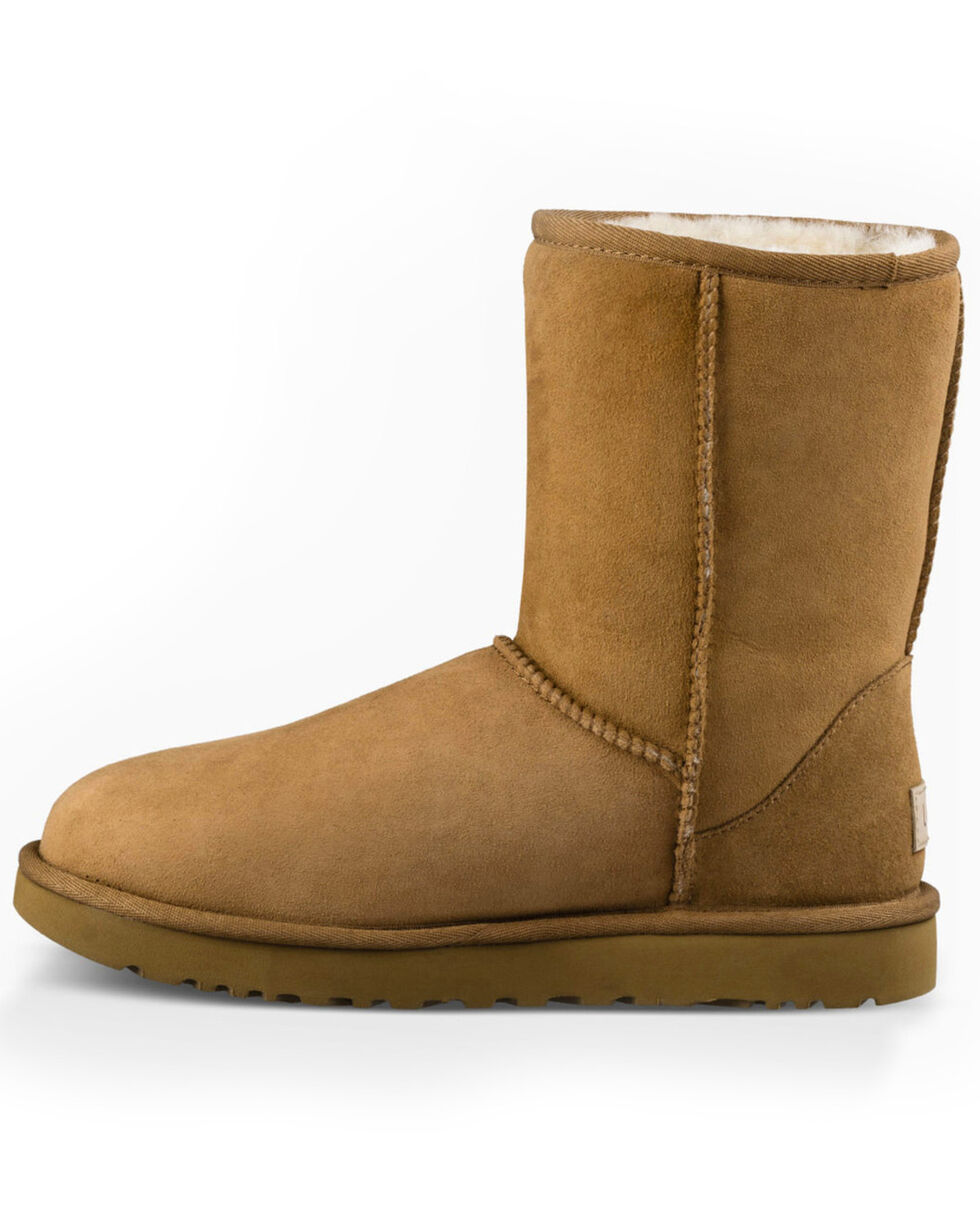 UGG Women's Classic Sheepskin Boots - Round Toe, Distressed Brown, hi-res