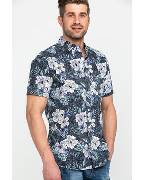Levis Men's Lembert Hawaiian Print Short Sleeve Western Shirt , Grey, hi-res