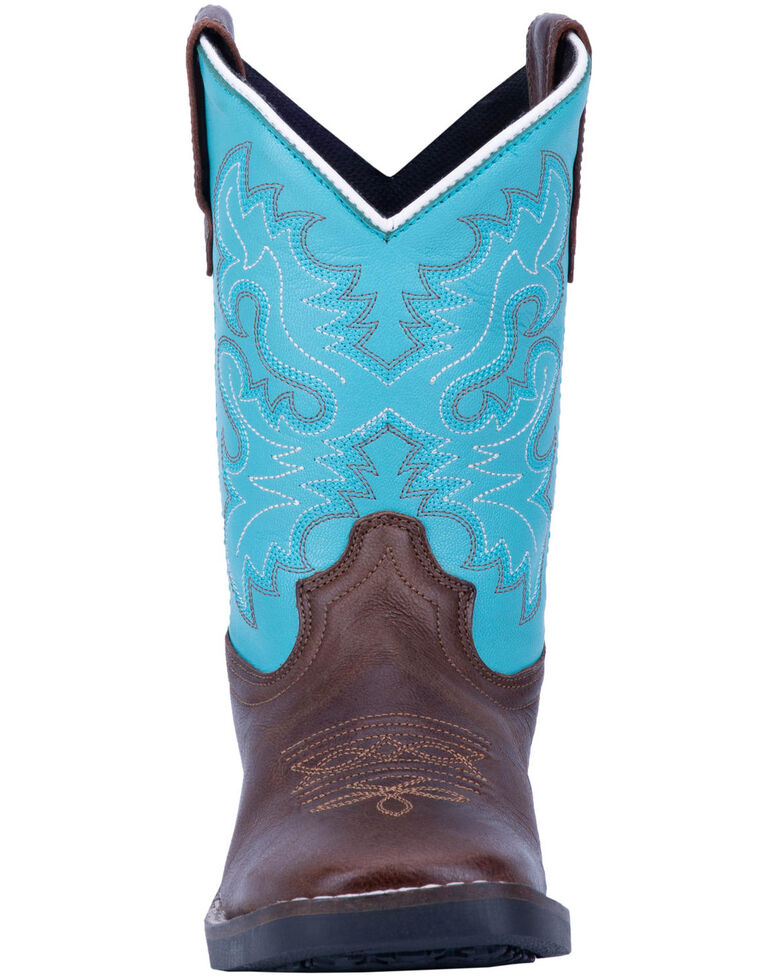 Dan Post Boys' Punky Western Boots - Wide Square Toe, Brown/blue, hi-res