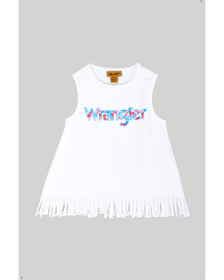Wrangler Girls' Logo Fringe Tank Top, White, hi-res