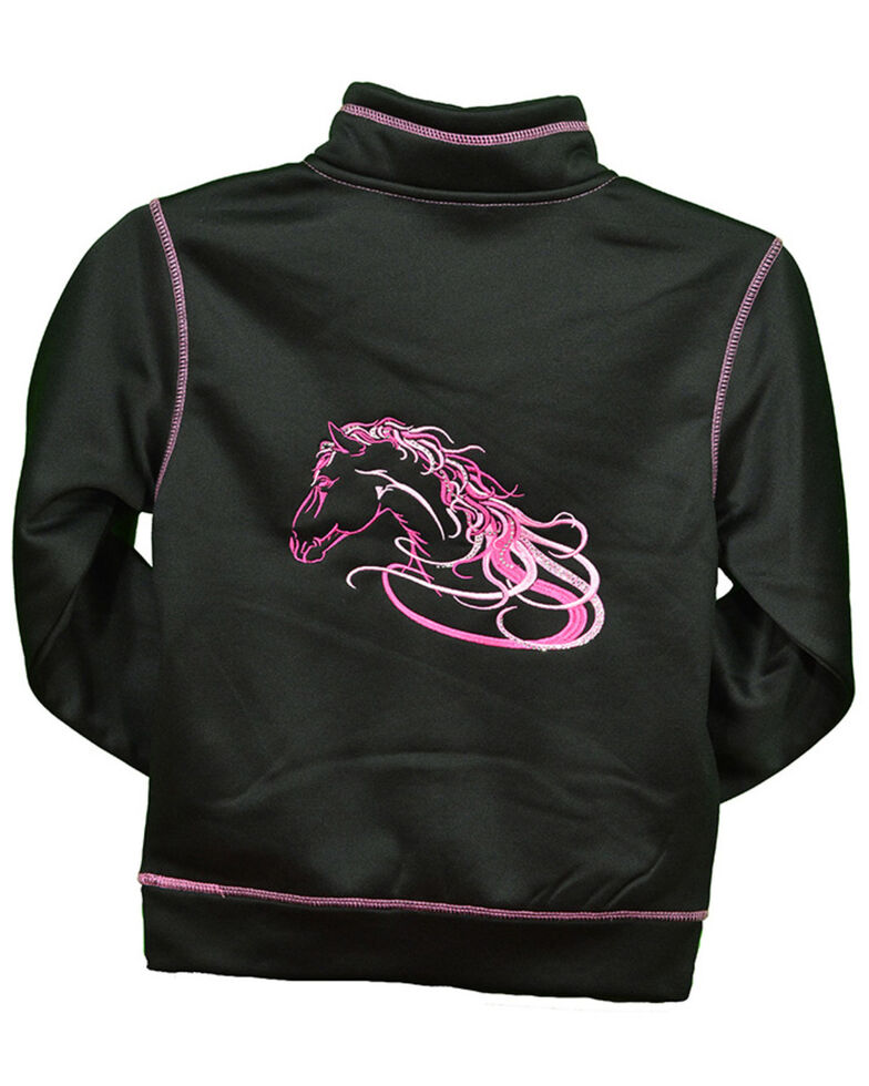 Cowgirl Hardware Toddler Girls' Black Beautiful Horse Zip Up Jacket , Black, hi-res