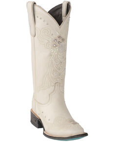 Lane Women's Ivory Western Wedding Boots - Square Toe, Ivory, hi-res