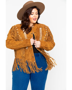 Liberty Wear Bone Bead & Fringe Leather Jacket - Plus, Tobacco, hi-res