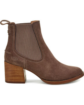 UGG Women's Faye Suede Pull On Boots - Round Toe, Brown, hi-res