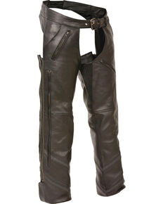 Milwaukee Leather Men's Reflective Piping Vented Chaps - 4X, Black, hi-res