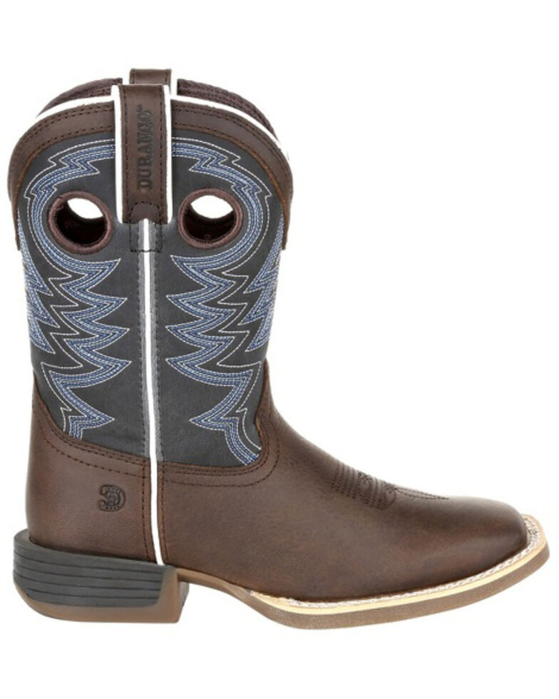 Durango Boys' Lil Rebel Pro Big Western Boots - Square Toe, Brown/blue, hi-res