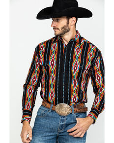 Wrangler Men's Aztec Checotah Stripe Long Sleeve Western Shirt , Red, hi-res