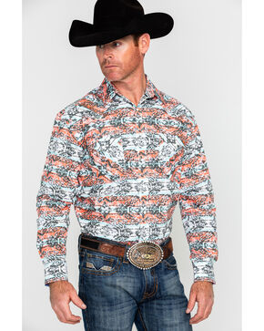 Panhandle Men's Rough Stock Capitola Aztec Print Long Sleeve Western Shirt , Multi, hi-res