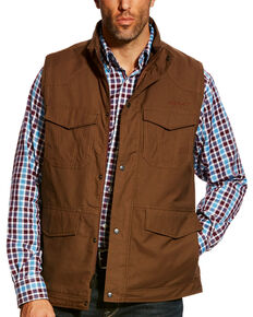 Ariat Men's Carafe Waggoner Concealed Carry Canvas Vest, Brown, hi-res