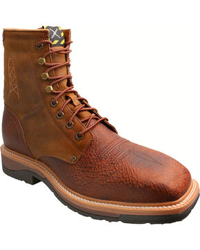 "Twisted X 8"" Lite Cowboy Work Lace-Up Boots - Steel Toe, Peanut, hi-res"