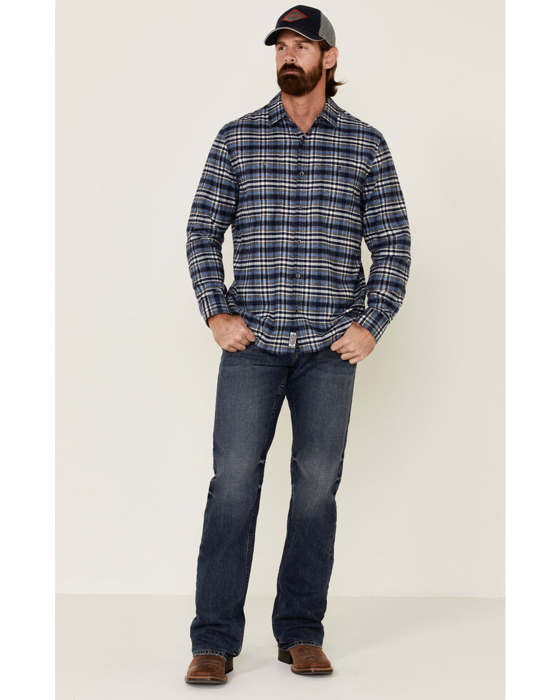 Flag & Anthem Men's Black Berks Stretch Plaid Long Sleeve Western Flannel Shirt , Black, hi-res