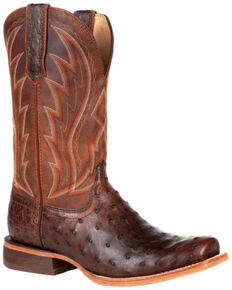 Durango Men's Chestnut Full-Quill Ostrich Western Boots - Square Toe, Chestnut, hi-res