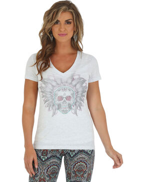 Wrangler Women's Skull Headdress Shirt, Ash, hi-res