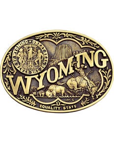 Montana Silversmiths Wyoming State Belt Buckle, Gold, hi-res