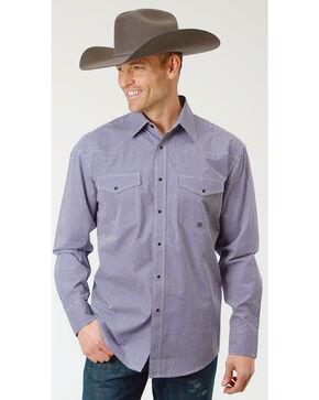 Roper Men's Gingham Check Long Sleeve Snap Shirt , Purple, hi-res