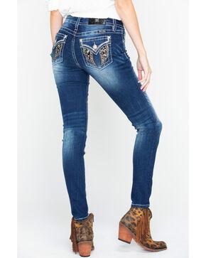 Miss Me Women's Bling Wing Embroidered Pocket Skinny Jeans  , Dark Blue, hi-res