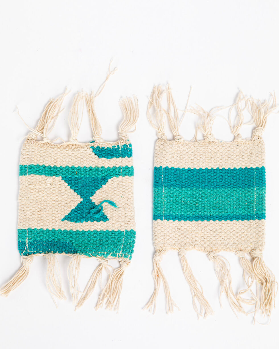 BB Ranch 4 Set Aztec Coasters, Turquoise, hi-res