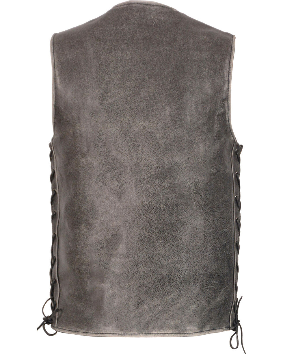 Milwaukee Leather Men's Grey Side Lace Vest - Big 4X , Grey, hi-res