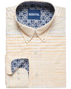 Resistol Men's Cleveland Bay Striped Long Sleeve Western Shirt , Yellow, hi-res