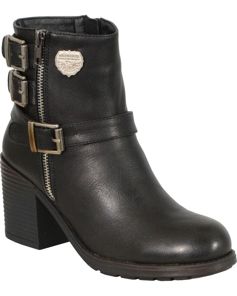 Milwaukee Leather Women's Black Triple Buckle Side Zipper Boots, Black, hi-res