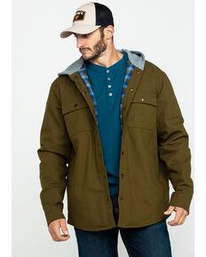 Hawx® Men's Olive Flannel Lined Hooded Canvas Shirt Work Jacket , Olive, hi-res