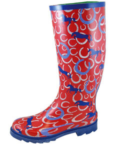 Smoky Mountain Women's Horseshoe Rubber Rain Boots - Round Toe, Maroon, hi-res