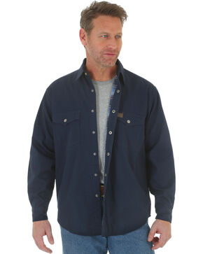Wrangler Men's Navy Riggs Workwear Flannel Lined Ripstop Shirt , Navy, hi-res