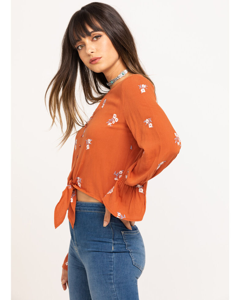 Fae & Francine Women's Rust Floral Embroidered Front Tie Long Sleeve Top, Rust Copper, hi-res