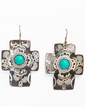 Shyanne Women's Chocolate Copper Cross Earrings, Tan/copper, hi-res