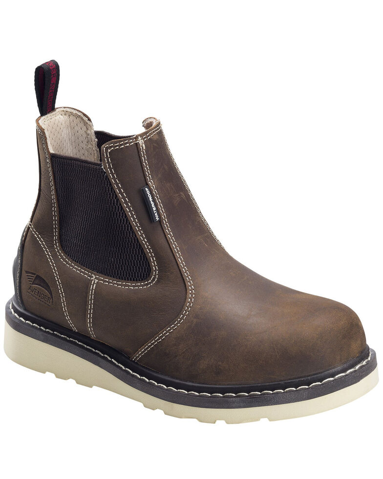 Avenger Women's Waterproof Chelsea Work Boots - Soft Toe, Brown, hi-res