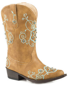 Roper Girls' Flower Sparkles Cowgirl Boots - Snip Toe, Tan, hi-res