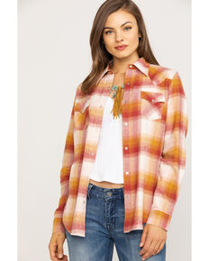 Wrangler Women's Rust & Mustard Plaid Flannel Shirt, Rust Copper, hi-res
