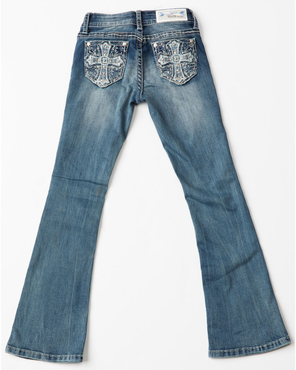 Grace In LA Girls' Grace Embroidered Cross Boot Cut Jeans , Indigo, hi-res