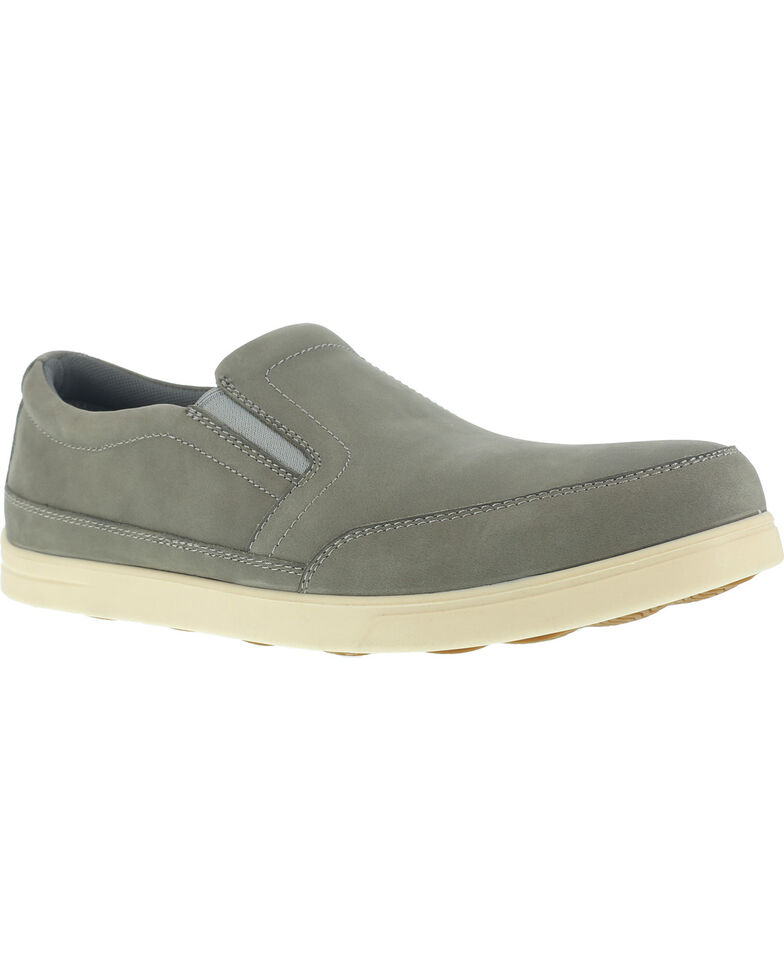 Florsheim Men's Slip-On Stoss Work Shoes - Steel Toe , Taupe, hi-res